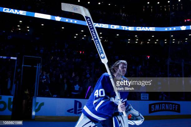 Garret Sparks of the Toronto Maple Leafs salutes the crowd after getting a star in the game against the Los Angeles Kings at the Scotiabank Arena on...