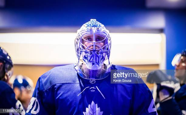 Garret Sparks of the Toronto Maple Leafs sets to play the Chicago Blackhawks before the third period at the Scotiabank Arena on March 13 2019 in...
