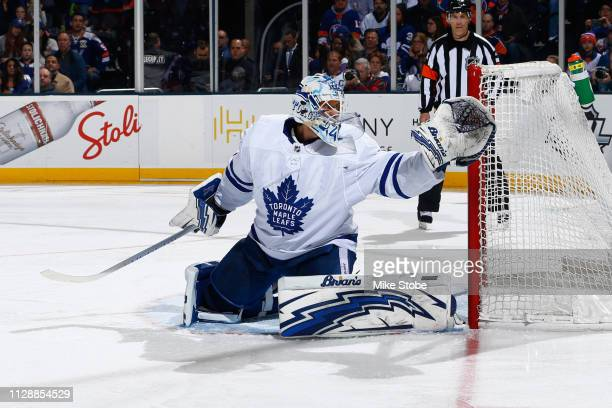 Garret Sparks of the Toronto Maple Leafs skates against the New York Islanders at NYCB Live's Nassau Coliseum on February 28 2019 in Uniondale New...