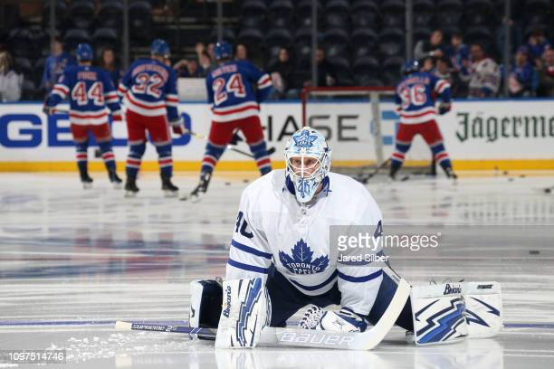 Garret Sparks of the Toronto Maple Leafs stretches during warmups prior to the game against the New York Rangers at Madison Square Garden on February...
