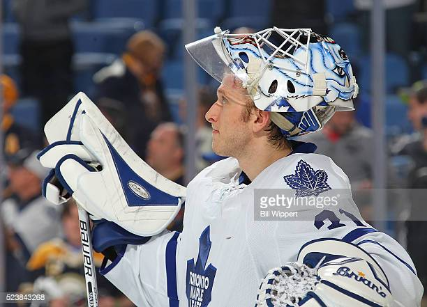 Garret Sparks of the Toronto Maple Leafs takes a break against the Buffalo Sabres during an NHL game on March 31 2016 at the First Niagara Center in...