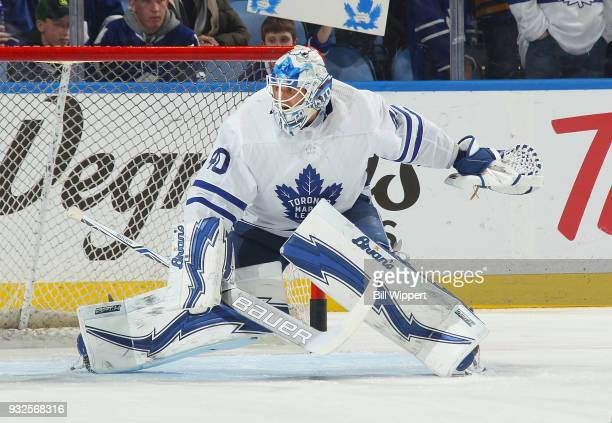 Garret Sparks of the Toronto Maple Leafs tends goal during warmups before an NHL game against the Buffalo Sabres on March 15 2018 at KeyBank Center...