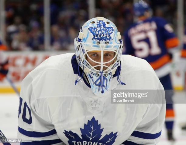 Garret Sparks of the Toronto Maple Leafs tends net against the New York Islanders at NYCB Live's Nassau Coliseum on February 28 2019 in Uniondale...
