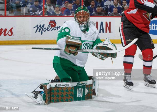 Garret Sparks of the Toronto Maple Leafs tends net against the Ottawa Senators at Canadian Tire Centre on March 16 2019 in Ottawa Ontario Canada