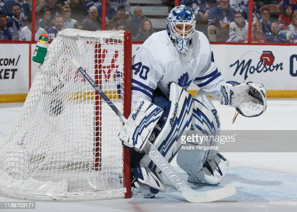 Garret Sparks of the Toronto Maple Leafs tends net against the Ottawa Senators at Canadian Tire Centre on March 30 2019 in Ottawa Ontario Canada
