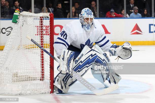 Garret Sparks of the Toronto Maple Leafs tends the net against the New York Rangers at Madison Square Garden on February 10 2019 in New York City