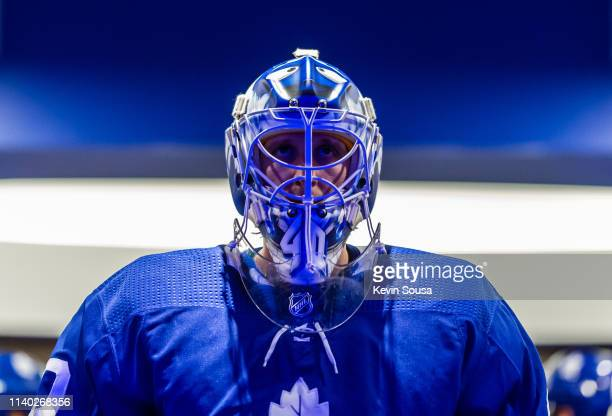 Garret Sparks of the Toronto Maple Leafs to leave the locker room before the third period against the Carolina Hurricanes at the Scotiabank Arena on...