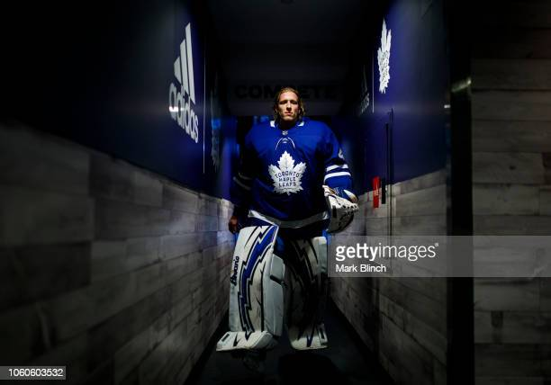 Garret Sparks of the Toronto Maple Leafs walks through the hallway before playing the Winnipeg Jets at the Scotiabank Arena on October 27 2018 in...