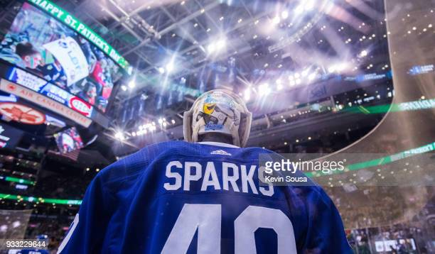 Garret Sparks of the Toronto Maple Leafs warms up before facing the Montreal Canadiens at the Air Canada Centre on March 17 2018 in Toronto Ontario...