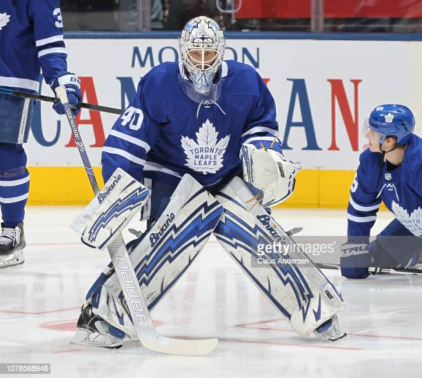 Garret Sparks of the Toronto Maple Leafs warms up prior to action against the Detroit Red Wings in an NHL game at Scotiabank Arena on December 6 2018...