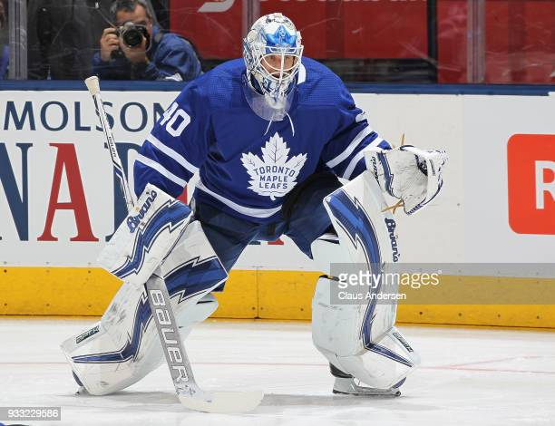 Garret Sparks of the Toronto Maple Leafs warms up prior to action against the Montreal Canadiens in an NHL game at the Air Canada Centre on March 17...