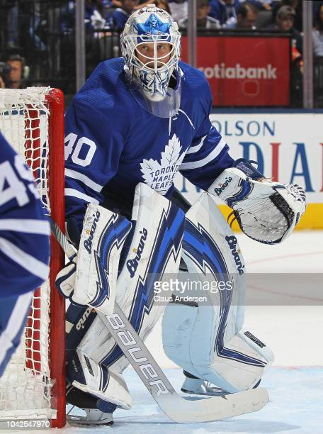 Garret Sparks of the Toronto Maple Leafs watches for a puck against the Buffalo Sabres during an NHL preseason game at Scotiabank Arena on September...