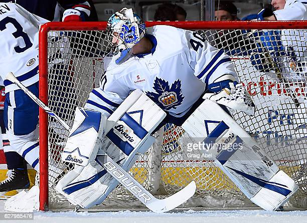 Garret Sparks of the Toronto Marlies prepares for a shot against the Hartford Wolf Pack during AHL game action on December 3 2016 at Ricoh Coliseum...