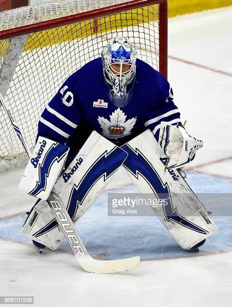Garret Sparks of the Toronto Marlies prepares for a shot against the Springfield Thunderbirds during AHL game action on March 25 2018 at Ricoh...