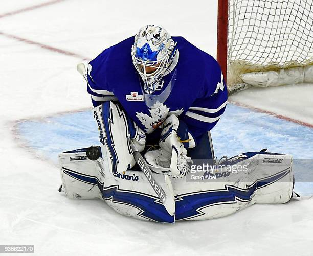 Garret Sparks of the Toronto Marlies skates against the Springfield Thunderbirds during AHL game action on March 25 2018 at Ricoh Coliseum in Toronto...