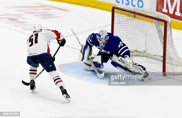 Garret Sparks of the Toronto Marlies stops a penalty shot by Francois Beauchemin of the Springfield Thunderbirds during AHL game action on March 25...