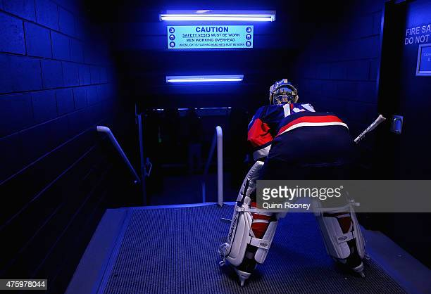 Garret Sparks of the United States of America prepares to go out onto the ice during the 2015 Ice Hockey Classic match between the United States of...