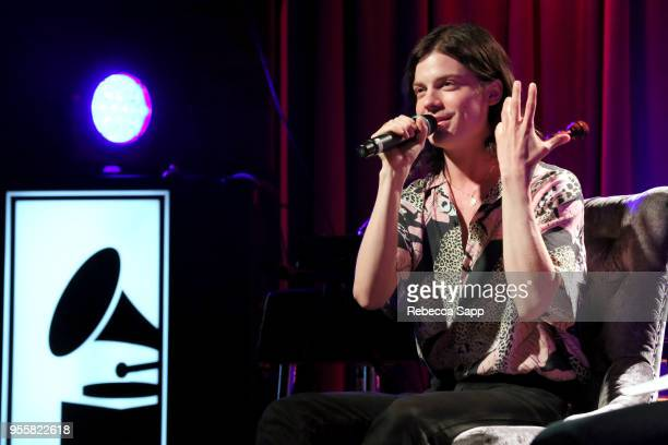 Garrett Borns of BORNS speaks onstage at The Drop BORNS at The GRAMMY Museum on May 7 2018 in Los Angeles California