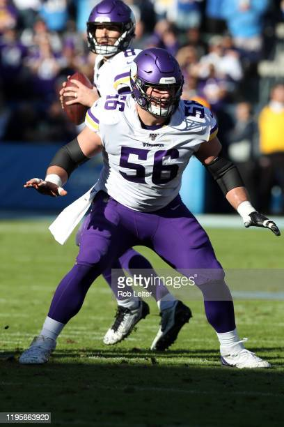 Garrett Bradbury of the Minnesota Vikings in action during the game against the Los Angeles Chargers at Dignity Health Sports Park on December 15...