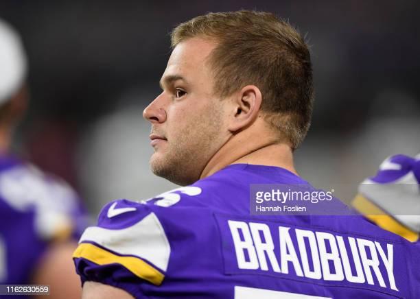 Garrett Bradbury of the Minnesota Vikings looks on during the second half of the preseason game against the Seattle Seahawks at US Bank Stadium on...