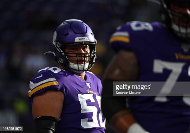 Garrett Bradbury of the Minnesota Vikings warms up before the preseason game against the Seattle Seahawks at US Bank Stadium on August 18 2019 in...