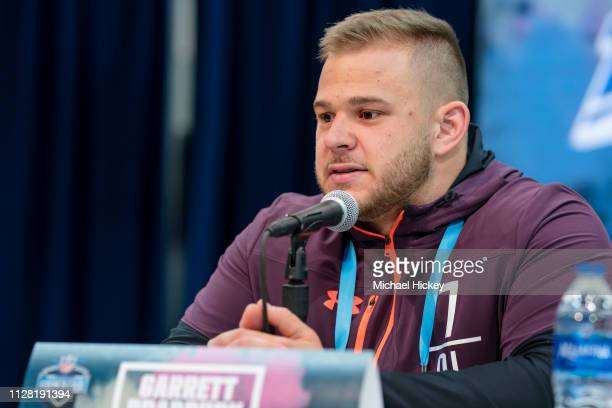 Garrett Bradbury #OL07 of the North Carolina State Wolfpack is seen at the 2019 NFL Combine at Lucas Oil Stadium on February 28 2019 in Indianapolis...