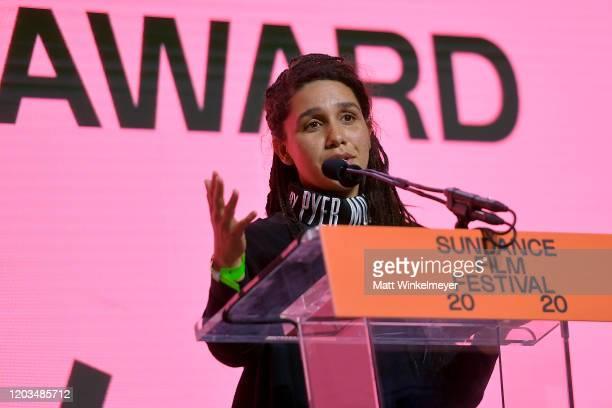 Garrett Bradley speaks onstage during the 2020 Sundance Film Festival Awards Night Ceremony at Basin Recreation Field House on February 01 2020 in...