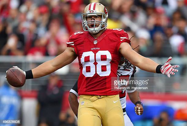Garrett Celek of the San Francisco 49ers celebrates after catching an 11yard touchdown pass against the Atlanta Falcons in the second quarter of...