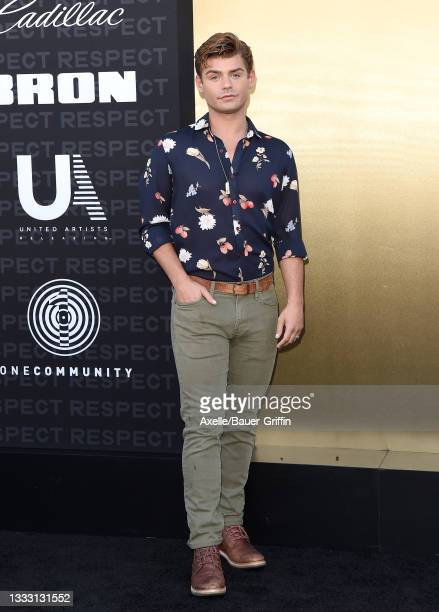 """Garrett Clayton attends the Los Angeles Premiere of MGM's """"Respect"""" at Regency Village Theatre on August 08, 2021 in Los Angeles, California."""