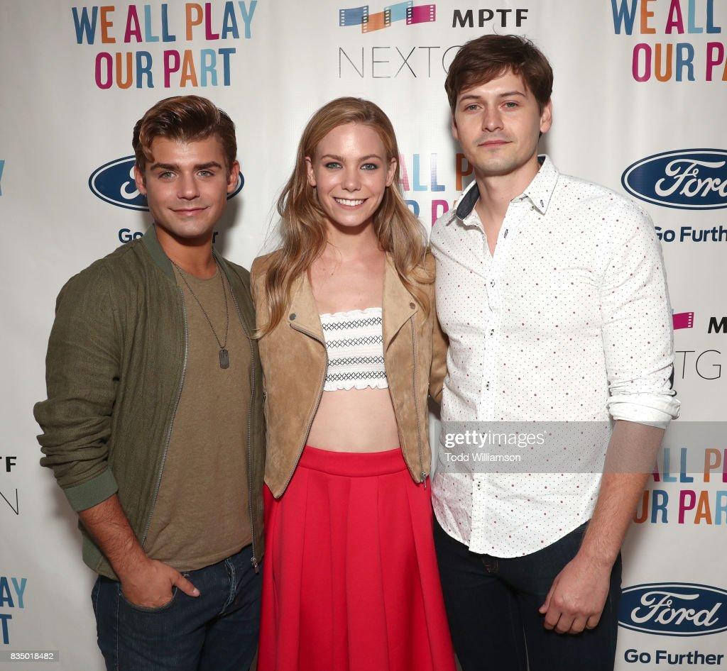 Garrett Clayton, Chloe Lanier and Morgan McClellan attends MPTF's NextGen Summer Party at NeueHouse Hollywood on August 17, 2017 in Los Angeles, California.