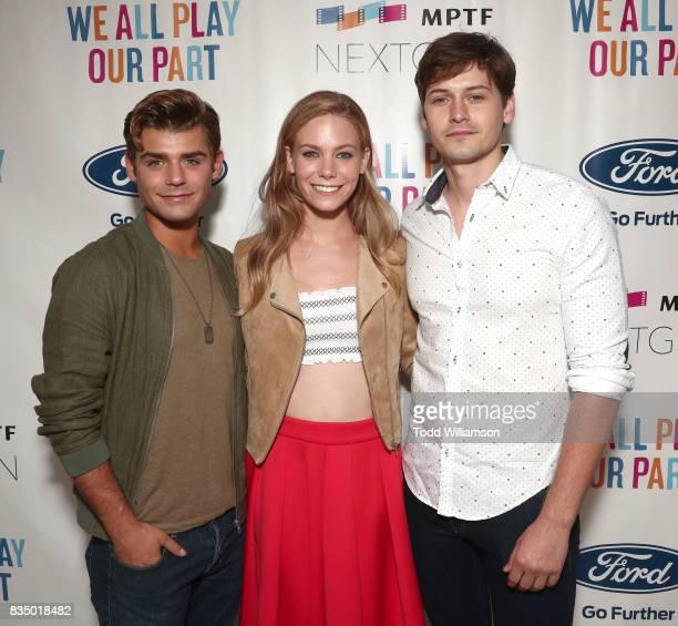 Garrett Clayton Chloe Lanier and Morgan McClellan attends MPTF's NextGen Summer Party at NeueHouse Hollywood on August 17 2017 in Los Angeles...