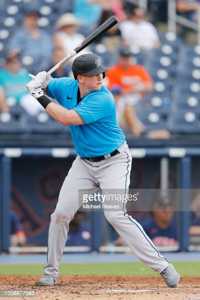 Garrett Cooper of the Miami Marlins at bat against the Houston Astros in the fifth inning of a Grapefruit League spring training game at FITTEAM...