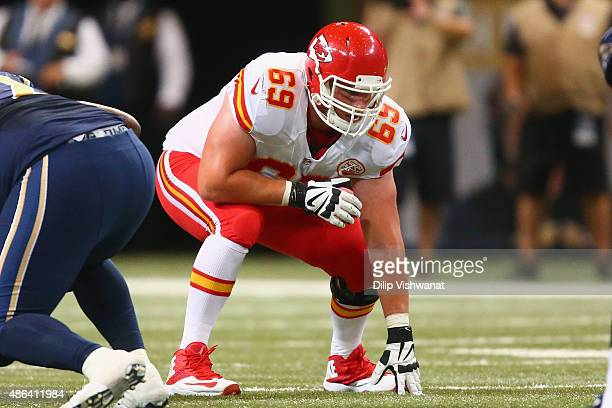 Garrett Frye of the Kansas City Chiefs lines up against the St Louis Rams in the fourth quarter during a preseason game at the Edward Jones Dome on...