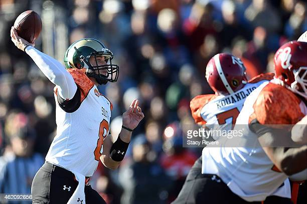 Garrett Grayson of the South team drops back to pass against the North team during the first quarter of the Reese's Senior Bowl at Ladd Peebles...