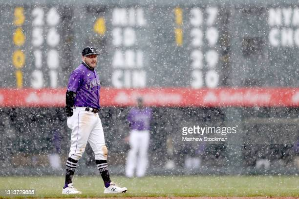 Garrett Hampson of the Colorado Rockies tries to keep his hand warm while playing the Houston Astros in the ninth inning at Coors Field on April 21,...