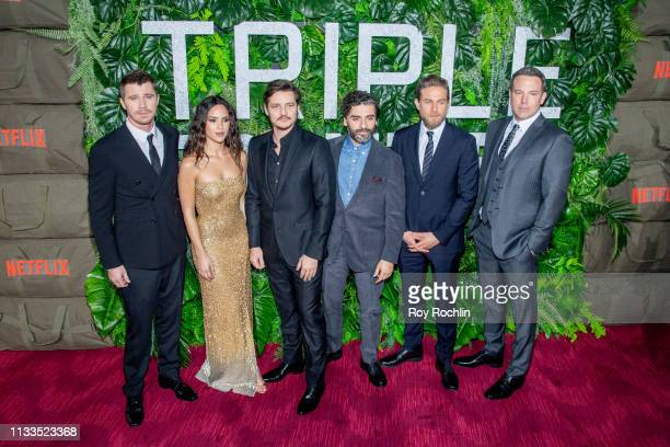 Garrett Hedlund Adria Arjona Pedro Pascal Oscar Isaac Charlie Hunnam and Ben Affleck attend the Triple Frontier World Premiere at Jazz at Lincoln...
