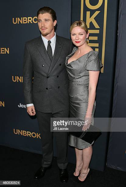Garrett Hedlund and Kirsten Dunst attend the 'Unbroken' Los Angeles premiere held at the TCL Chinese Theatre IMAX on December 15 2014 in Hollywood...