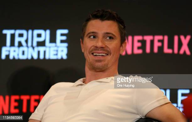 Garrett Hedlund attends the press conference for the Singapore premiere of 'Triple Frontier' at Marina Bay Sands on March 09 2019 in Singapore
