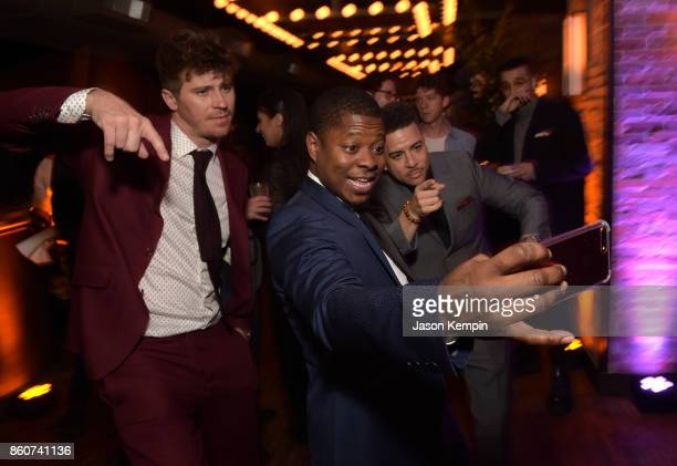 Garrett Hedlund Jason Mitchell and Virgil Williams attend the 'Mudbound' afterparty following the screening at the 55th New York Film Festival on...