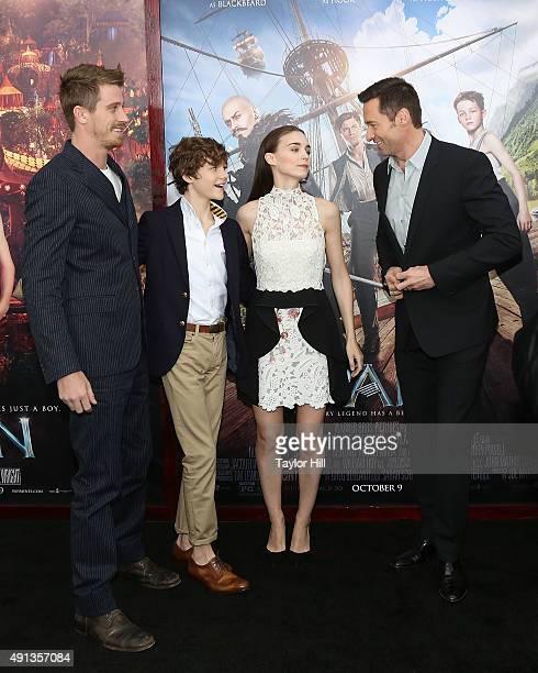 Garrett Hedlund Levi Miller Rooney Mara and Hugh Jackman attend the 'Pan' premiere at Ziegfeld Theater on October 4 2015 in New York City