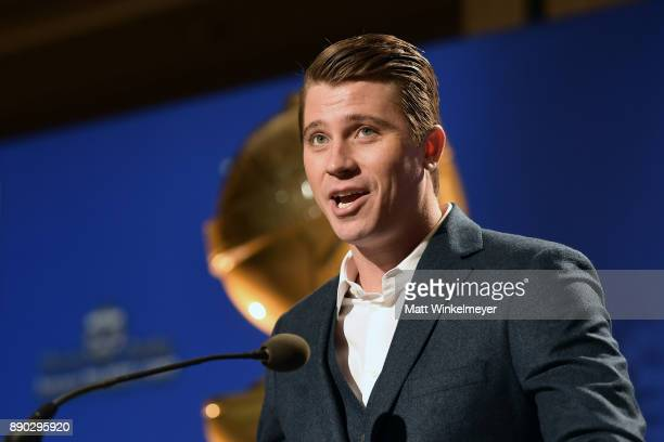 Garrett Hedlund speaks during the 75th Annual Golden Globe Nominations Announcement on December 11 2017 in Los Angeles California