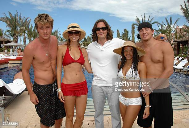 Garrett Hedlund Stacy Keibler Jamie Mulholland Jenna Dewan and Channing Tatum attend the Grand Opening of Cain at Cove Atlantis on July 21 2007 in...