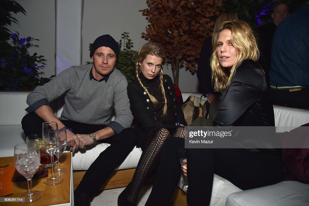 Garrett Hedlund, Theodora Richards and Alexandra Richards attend American Express x Justin Timberlake 'Man Of The Woods' listening session at Skylight Clarkson Sq on January 17, 2018 in New York City.