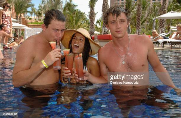 Garrett Hedlung Jenna Dewan and Channing Tatum attend the Grand Opening of Cain at Cove Atlantis on July 21 2007 in the Bahamas