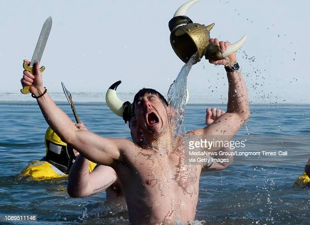 Garrett Jimenez and his viking team have conquered the water during the annual Polar Plunge at the Boulder Reservoir on January 1 2019 n