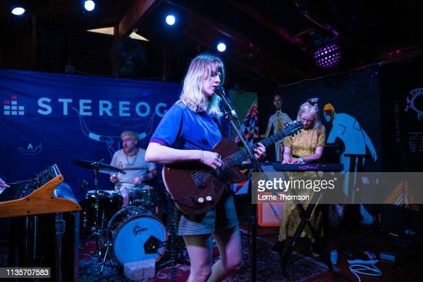Garrett Koloski Catherine Elicson and Emily Shanahan of Empath perform at Cheer Up Charlies on March 13 2019 in Austin Texas