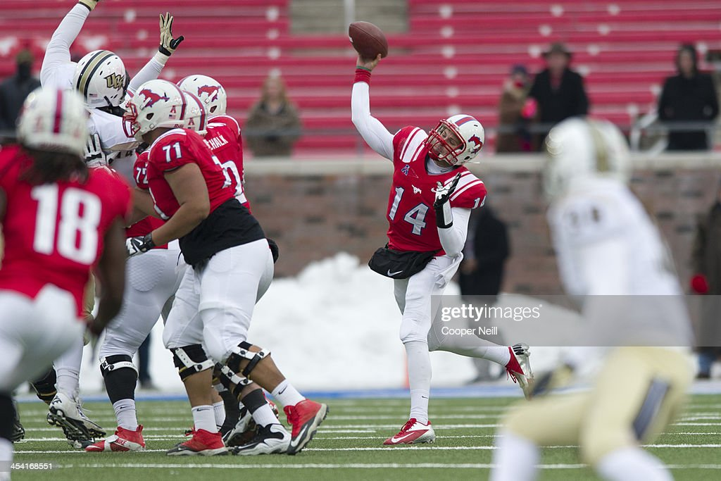 Garrett Krstich #14 of the SMU Mustangs throws a pass against the Central Florida Knights on December 7, 2013 at Gerald J. Ford Stadium in Dallas, Texas.