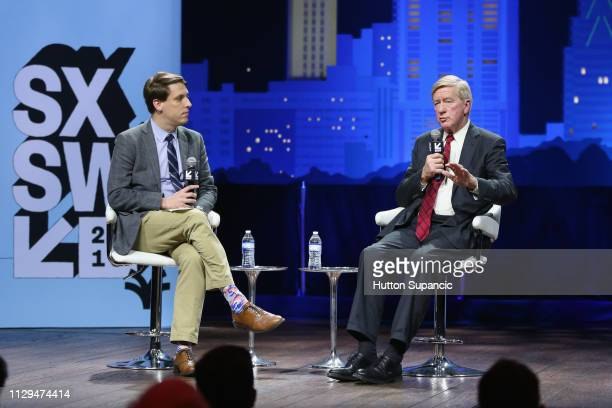Garrett M Graff and Bill Weld speak onstage at Conversations About America's Future Former Governor Bill Weld during the 2019 SXSW Conference and...