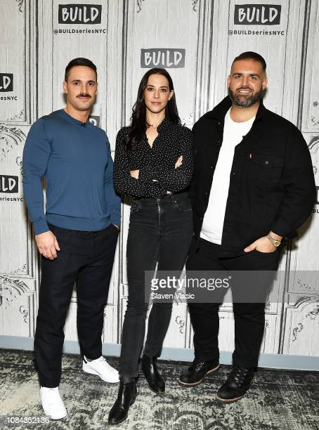 Garrett Magee Melissa Brasier and James DeSantis visit Build Brunch to disscuss Bravo's brand new show Backyard Envy at Build Studio on January 17...