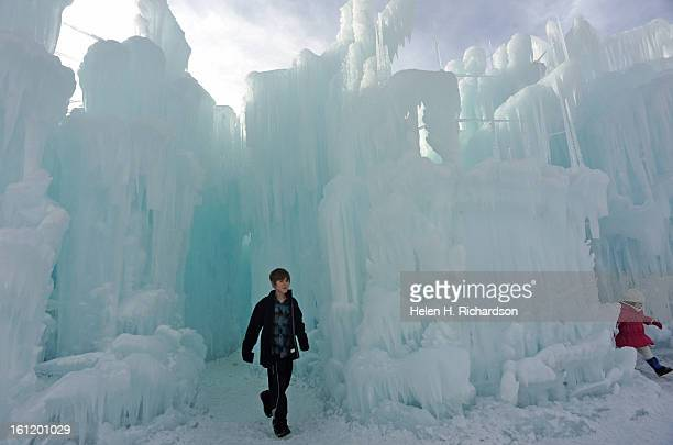 Garrett Mathis 912 of Atlanta Georgia winds his way through the tunnels in the towers of ice The Ice Castles at Silverthorne are an unparalleled...